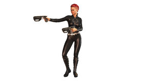 Redhead girl with guns in black costume, girl isolated on white Royalty Free Stock Photos