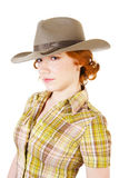 Redhead girl in hat Stock Photo