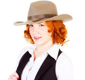 Redhead girl in hat Royalty Free Stock Images