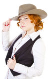 Redhead girl in hat Royalty Free Stock Photography