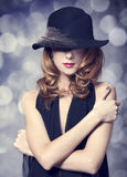 redhead girl in hat. Stock Image