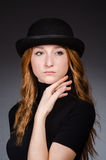 Redhead girl in hat Stock Image
