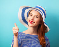 Redhead girl in hat Royalty Free Stock Image