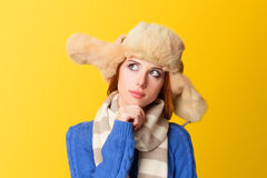 Redhead girl in hat Stock Photos
