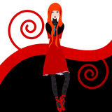 Redhead girl illustration. In red, black and white Royalty Free Stock Images
