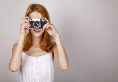 Free Redhead Girl In White Dress With Vintage Camera. Royalty Free Stock Images - 20197429
