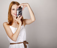 Free Redhead Girl In White Dress With Vintage Camera. Royalty Free Stock Photography - 20197437