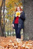 Redhead girl with leaf in city park, fall season Stock Photography