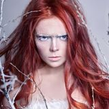 Redhead girl with long hair, a face covered with snow with frost. White eyebrows and eyelashes in frost, a tree branch covered. With snow. Snow Queen and winter Stock Photos