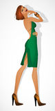 Redhead girl model in the green dress Royalty Free Stock Photos