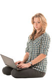 Redhead girl with notebook Royalty Free Stock Image
