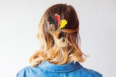 Redhead girl with oak leaves at Germany Unity day Royalty Free Stock Photos