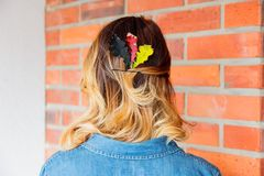 Redhead girl with oak leaves at Germany Unity day Royalty Free Stock Photography