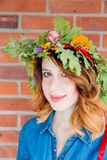 Redhead girl with oak leaves wreath at Germany Unity day Royalty Free Stock Photo