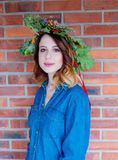 Redhead girl with oak leaves wreath at Germany Unity day Stock Image