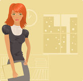 Redhead girl in office Royalty Free Stock Photography