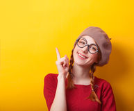 Redhead girl with pigtails Royalty Free Stock Images