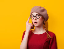 Redhead girl with pigtails Stock Photos