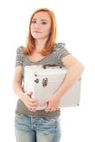 Redhead girl with plastic case Royalty Free Stock Images