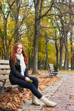 Redhead girl portrait in city park, fall season Royalty Free Stock Images