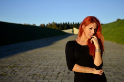 Redhead girl posing Royalty Free Stock Photography