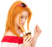 Redhead girl posing with ice cream Stock Photo