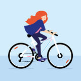 Redhead girl riding bicycle. Vector illustration Stock Image