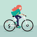 Redhead girl riding bicycle. Vector illustration.  Royalty Free Stock Photos