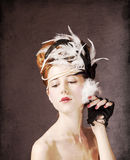 Redhead girl with Rococo hair style Royalty Free Stock Image
