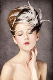 Redhead girl with Rococo hair style Stock Photo