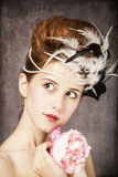 Redhead girl with Rococo hair style Stock Images