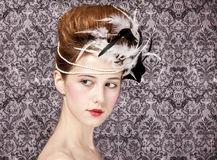 Redhead girl with Rococo hair style Stock Image