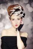 Redhead girl with Rococo hair style at vintage background. Photo Royalty Free Stock Photo