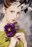 Redhead girl with Rococo hair style at vintage background. Photo Stock Photo