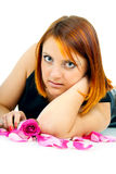 Redhead girl with a rose Royalty Free Stock Photography