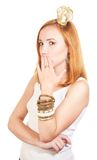 Redhead girl with secret Stock Photography