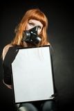 Redhead girl with a sign Stock Photography