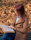 Redhead girl sitting on bench in park and reading book. Happy redhead girl sitting,smiling and reading a book on bench in park Royalty Free Stock Images