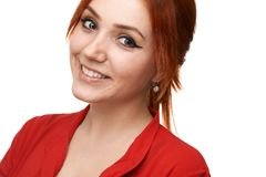 Redhead  girl smiles sweetly Royalty Free Stock Photos