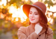 Redhead girl in style clothes Royalty Free Stock Photography