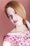 Redhead girl with style make-up. Royalty Free Stock Photo