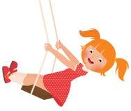 Redhead girl on a swing stock illustration