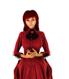 Redhead girl in turn of the century clothing. Redhead girl in turn of the century red dress holding her hands entreating Royalty Free Stock Photos