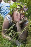 Redhead Girl with wreath Stock Photography
