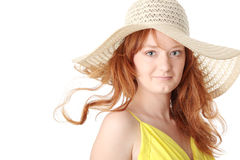 Redhead girl in yellow summer dress Royalty Free Stock Photography