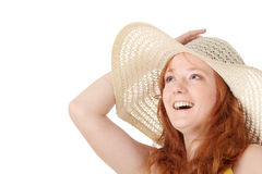 Redhead girl in yellow summer dress Stock Photos