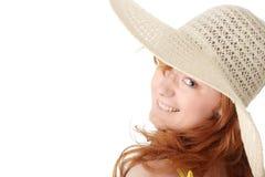 Redhead girl in yellow summer dress Stock Photo