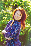 Redhead happy woman Royalty Free Stock Images