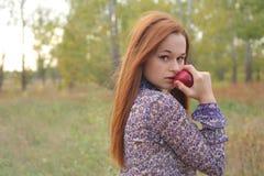 Redhead joven hermoso en un prado del otoño Fotografía de archivo
