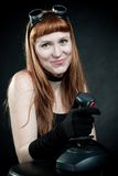 Redhead with joystick Stock Photos